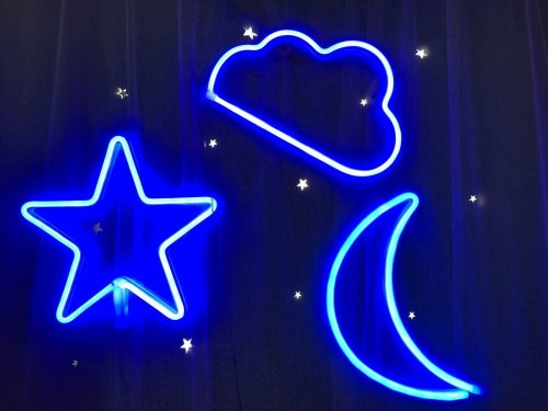 Star Moon and Cloud Neon Night Sign Decorative LED Light Art Wall Decor for Bar Bedroom Birthday Party Decor Powered by Battery/USB(Blue)