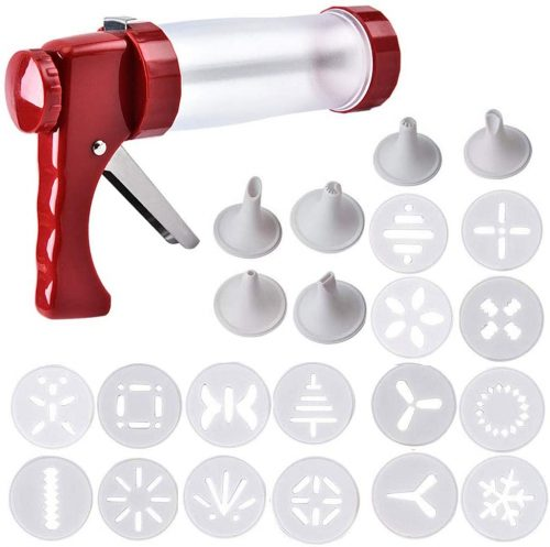 10. Clear Cookie Press Maker Gun Kit with 16 Discs Moulds & 6 Icing Tips