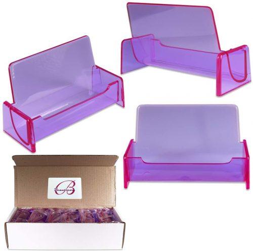 6. Beauticom 12 Pieces - Clear Color Plastic Business Card Holder