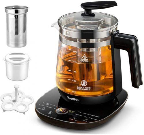 4. ICOOKPOT Multi-Use Electric Kettle Borosilicate Glass Tea Maker