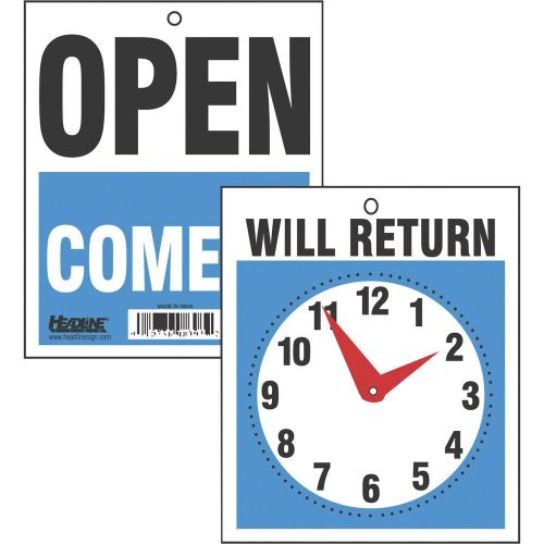 5. Headline Sign 9382 Double-Sided Open/Will Return Sign with Clock