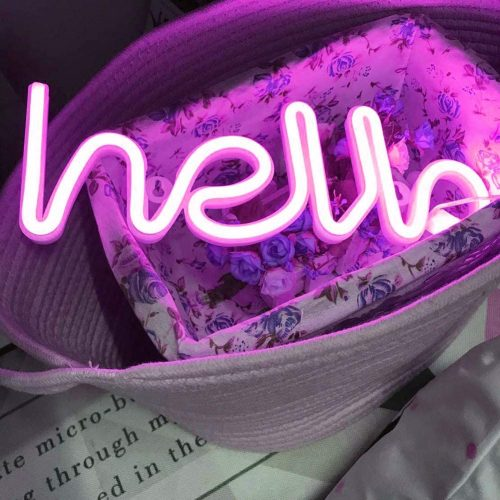 1. Hello Neon Light Signs LED Neon Word Sign Neon Letters