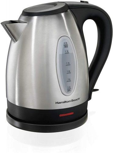 6. Hamilton Beach Electric Tea Kettle, Water Boiler & Heater - Stainless Steel Kettle