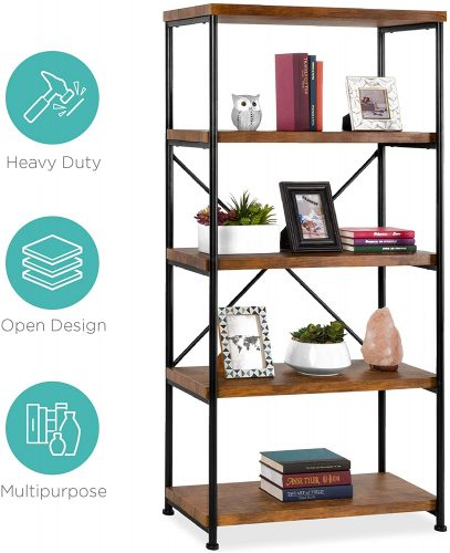 6. Best Choice Products 5-Tier Rustic Industrial Bookshelf