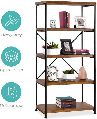 10. 5-Tier Rustic Industrial Bookshelf
