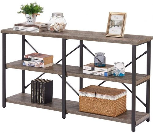 6. BON AUGURE Rustic Console Sofa Table, Industrial Long