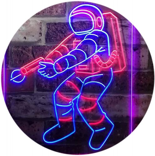 7. ADV PRO Astronaut Space Rocket Shuttle Kid Room Dual Color LED Neon