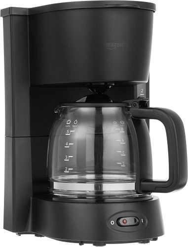 9. AmazonBasics 5-Cup Coffeemaker with Glass Carafe