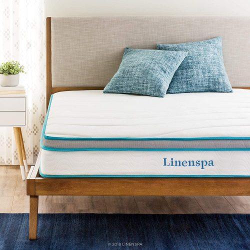 2. Linenspa 8 Inch Memory Foam and Innerspring Hybrid Mattress