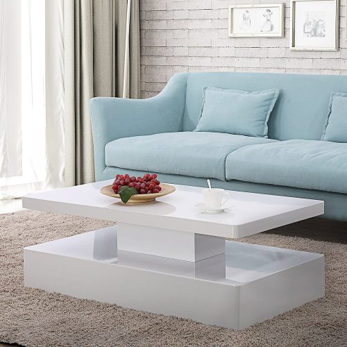 2. Mecor Modern Glossy Coffee Table