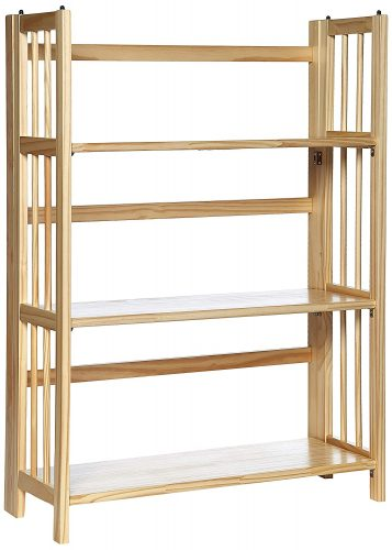"2. Casual Home 3-Shelf Folding Stackable Bookcase (27.5"" Wide)-Natural"