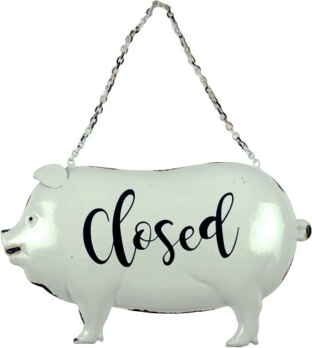 9. Creative Co-op Rustic Style Farmhouse Open & Closed Hanging Pig Sign