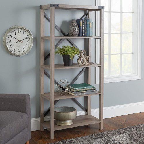4. Walker Edison Furniture Company Modern Farmhouse Wood Bookcase