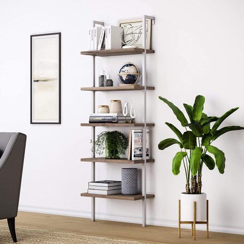 6. Nathan James Theo 5-Shelf Wood Ladder Bookcase