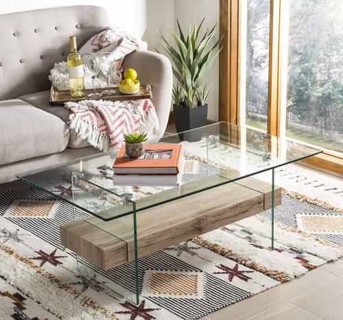 1. Safavieh Home Kayley Glass Coffee Table