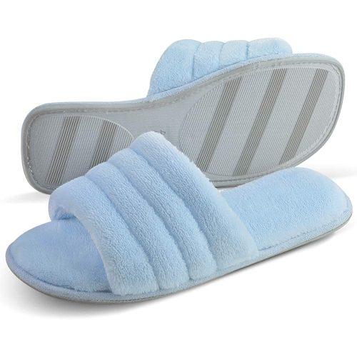5. DL Women's Memory Foam Open-Toe Slide Slippers - Slipper For Office