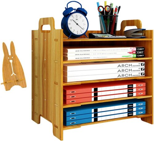 Marbrasse 5 Trays Wooden Desk File Organizer