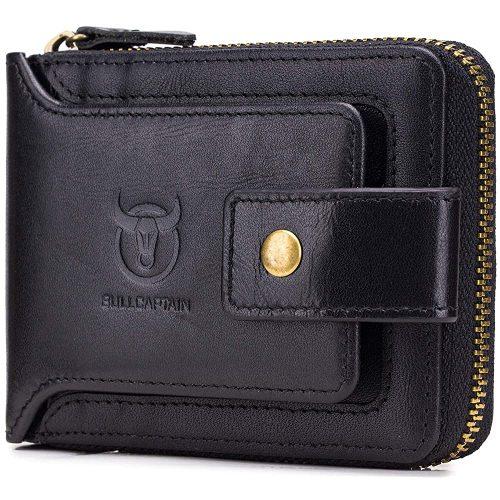 Men's Genuine Leather Wallet,RFID Blocking Zip Around