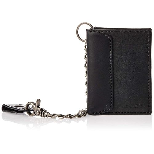 Men's Trifold Wallet, Black with Chain, One Size