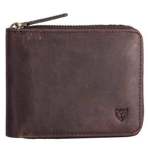 RFID Men's Leather Zipper wallet Zip Around Wallet