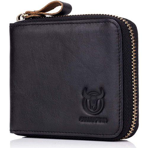Men's RFID Blocking Wallets,Genuine Leather Short Zip-around