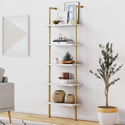 3. Nathan James Theo 5-shelf Ladder Bookcase - Modular Office Furniture