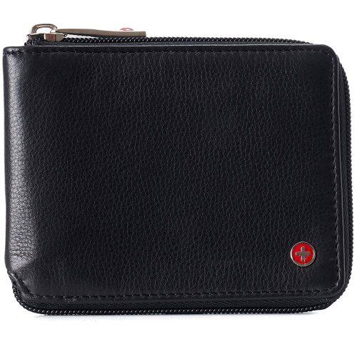 Alpine Swiss Logan Zipper Bifold Wallet For Men