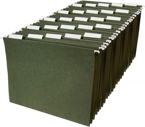 10. AmazonBasics Hanging Organizer File Folders- Filing Cabinet Divider