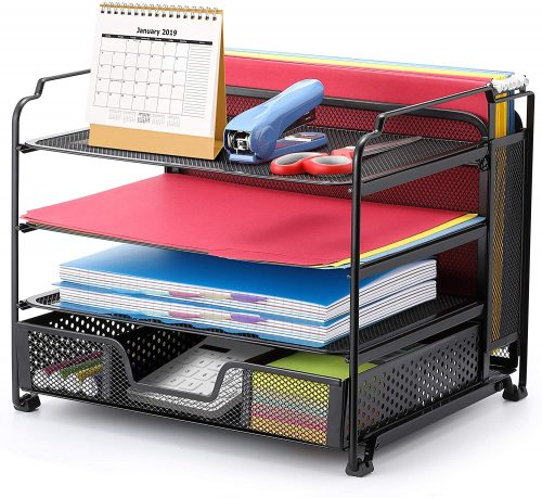 Simple Trending 4-Trays Mesh Office Supplies Desk Organizer