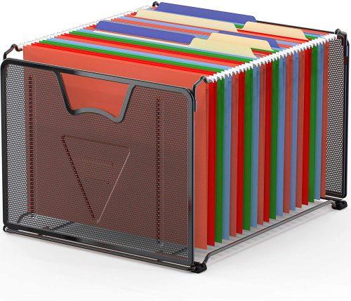 6. SimpleHouseware Mesh Hanging File Organizer - Filing Cabinet Divider
