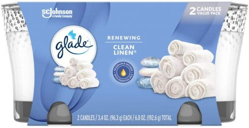 Glade Candle Jar, Air Freshener, Clean Linen, 2 candles, 6.8 oz | Bathroom Freshener