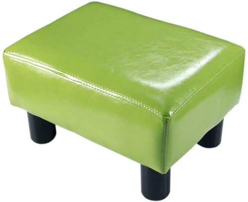 7. TOUCH-RICH Small Foot Rest Stool Rectangle Modern PU Faux Leather
