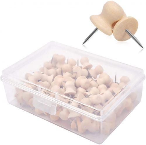 7. eZAKKA 100 Pieces Wood Push Pins Cap Shaped Wooden