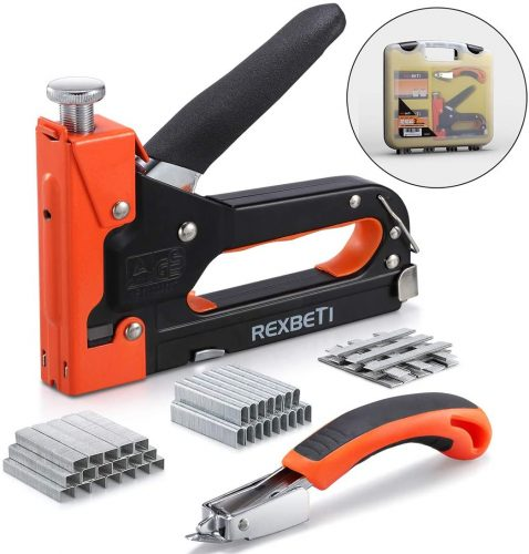 REXBETI Staple Gun with Remover, Heavy Duty 3 in 1 Staple Gun with 2600-Piece Staples for Upholstery