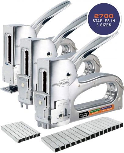Staple Gun - Heavy Duty Staple Gun for Wood, Wire, and Paper - 3 Functions in 1 for T50 and JT21 Type Staples - Upholstery Staple Gun