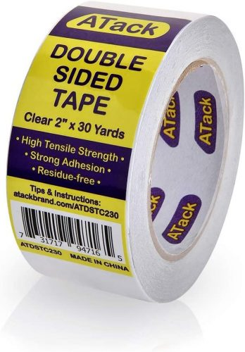 ATack Clear Double-Sided Tape, Easy Tear by Hand | Low Tack Masking Tape