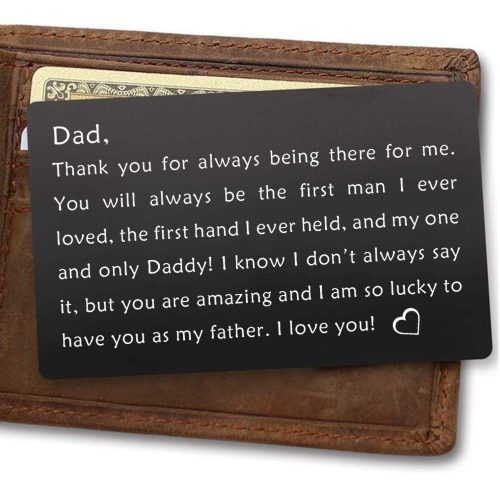 Dad Gifts,Engraved Metal Wallet Inserts Card