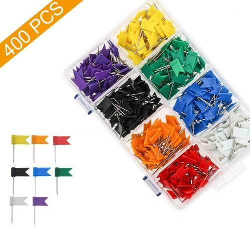 8. Colored Flag Travel Map Push Pins, Coideal 400 Pack