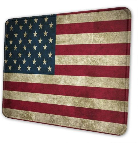 8. American Flag Mouse Pad with Stitched Edge