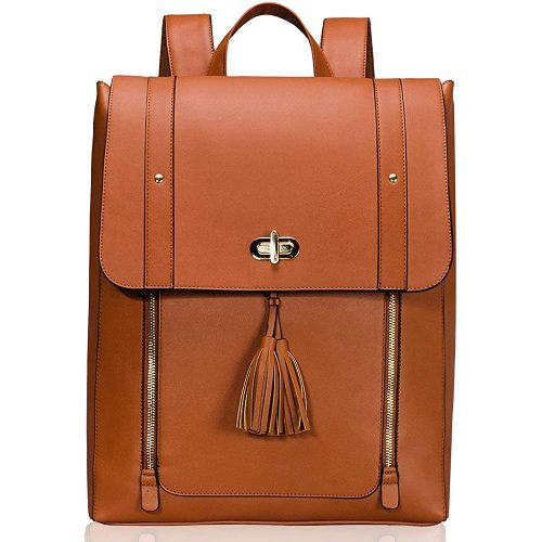 6. Estarer Women PU Leather Backpack 15.6inch Laptop Vintage