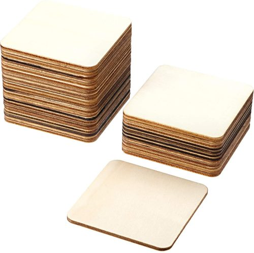 Boao Blank Wood Squares Wood Pieces Unfinished Round Corner Square Wood Business Cards