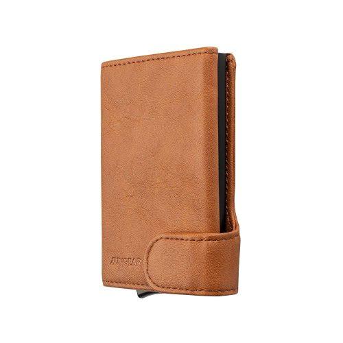 Credit Card Holder, Slim Leather Pop up Wallet RFID Blocking Metal Card Case