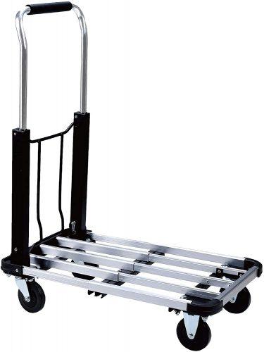 Foldable Push Cart Aluminum Alloy Platform Cart with 4-Wheel   Luggage Trolleys