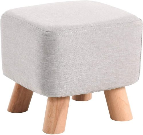 10. IBUYKE Footstool Solid Wood Ottoman Small Stool Sofa Tea Stool