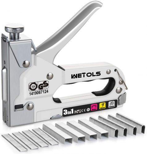 WETOLS Staple Gun, Heavy Duty Staple Gun, 3 in 1 Manual Nail Gun with 2400 Staples(D, U and T-Type), for Upholstery