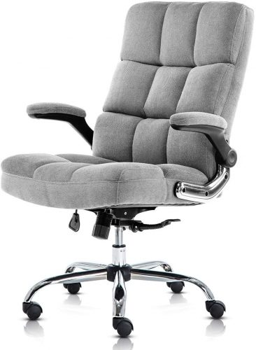 6. SP Velvet Office Chair Adjustable Tilt Angle and Flip-up Arms Executive