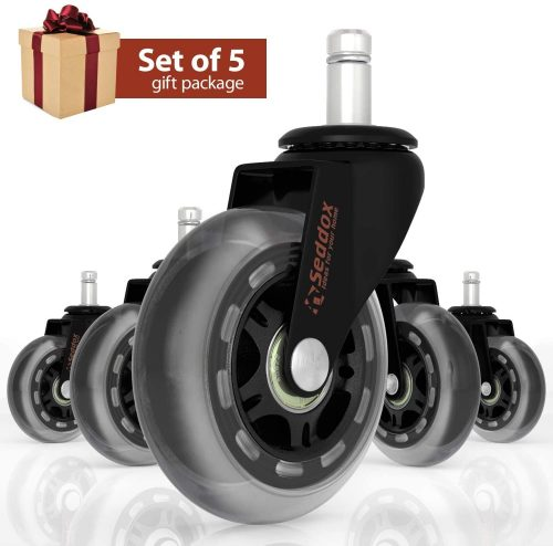 Professional Office Chair Caster Wheels Gift Set of 5 | Office Chair Wheels