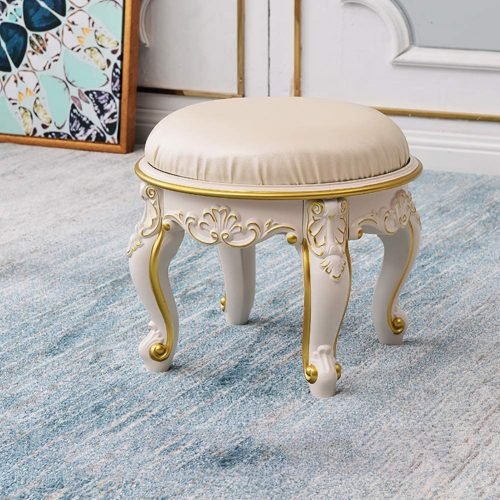 1. MLXG European Upholstered Ottoman Footstool, Resin Padded Seat