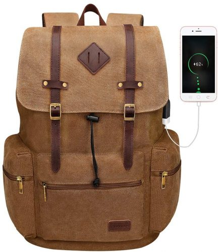 8. Modoker Canvas Laptop Rucksack Backpack Vintage Leather Bookbag