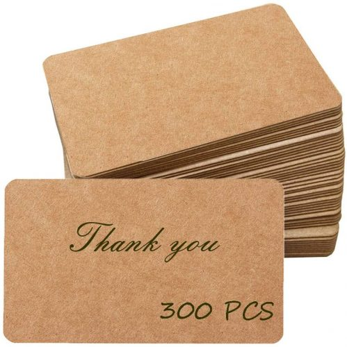 "Primbeeks 300pcs Premium Blank Kraft Paper Cards, Double-sided Available Word Card, 3.5"" x 2.2"" Business Cards Message Card DIY Gift Card Kraft Note Paper Tags Scratch Paper Flash Cards"